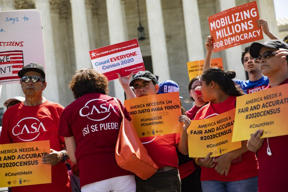 Protesters outside the U.S. Supreme Court before its ruling on adding a citizenship question to the 2020 census, June 27, 2019.