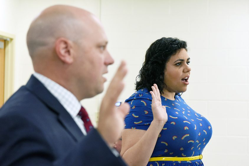 Dean Kolligan and Natalya Lakhtakia are sworn in to the Saratoga Springs Board of Education.