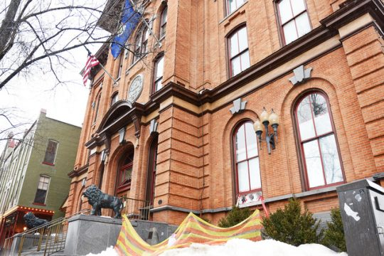 Renovations continue at Saratoga Springs City Hall on Broadway after the building was struck by lightning last summer.