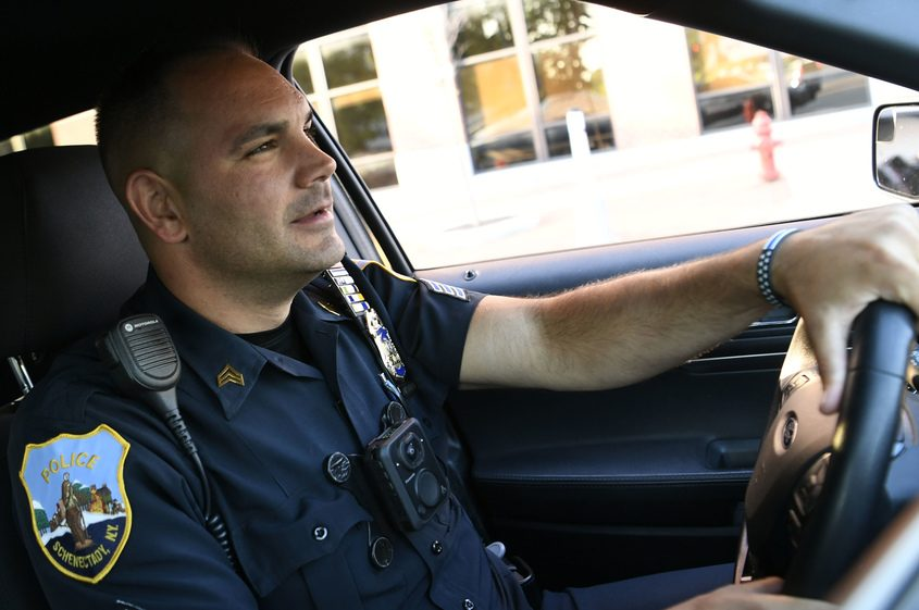 Schenectady police Sgt. Jeffrey McCutcheon on patrol in the Hamilton Hill neighborhood Wednesday.