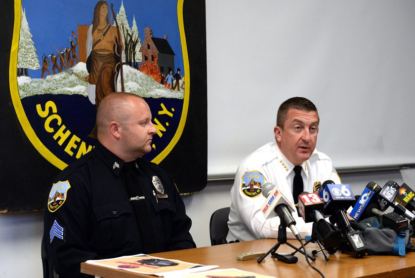 Schenectady Police Chief Eric Clifford, right, speaks during a press conference in 2017.