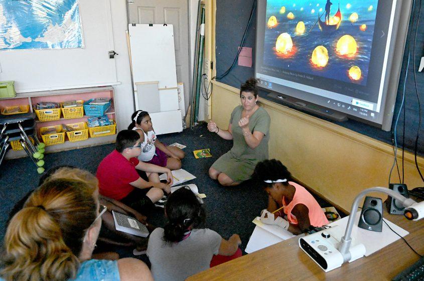 Teacher Heidi Schults- Estrada leads a class at the summer enrichment program at Mont Pleasant Middle School.
