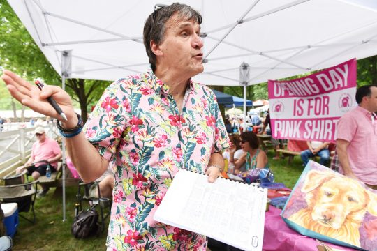 Mike Dack of Waterford discusses his tradition of wearing pink shirts on opening day of Saratoga Race Course.