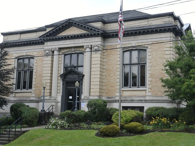 The exterior of the Johnstown Public Library is shown.