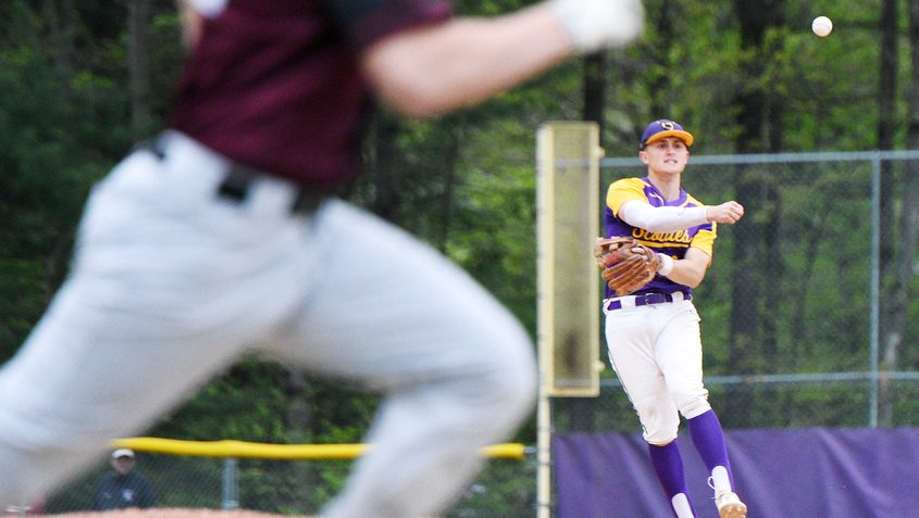 Ballston Spa's Luke Gold throws the ball to first base during a baseball game against BHBL in Ballston Spa May 9