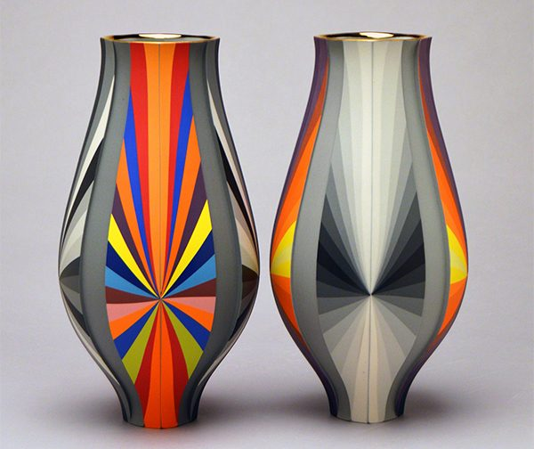 Brightly colored vessels by Peter Pincus will be part of the weekend's REVEAL fair.