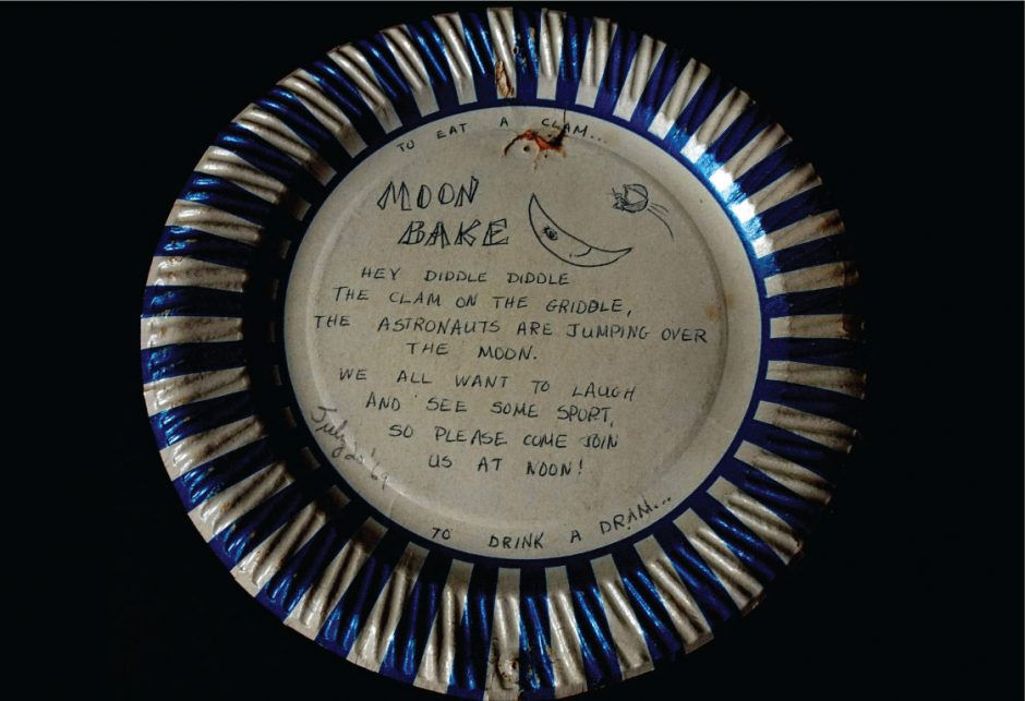 """A paper plate """"party invitation"""" campers used to invite neighbors to a moon-watch party on Caroga Lake on July 20, 1969."""