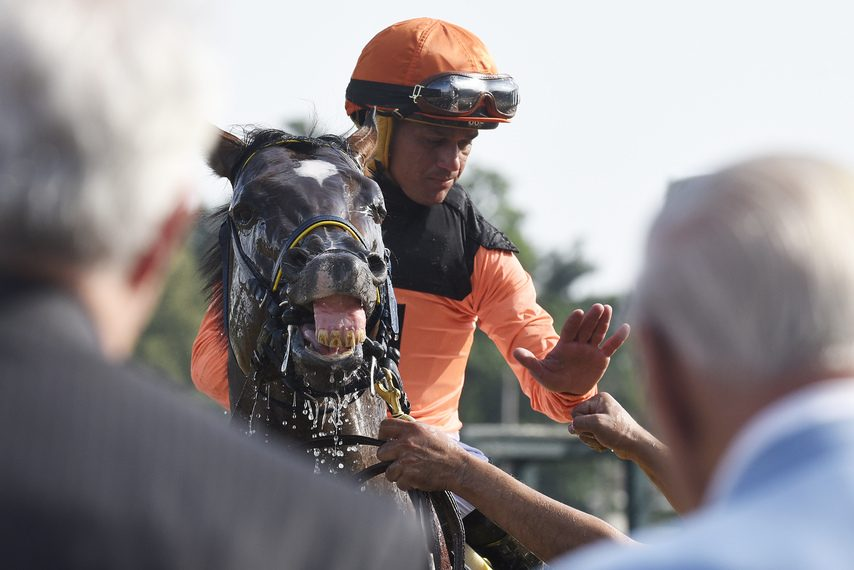 Jockey Javier Castellano gets a fist bump after he and Imperial Hint won the A.G. Vanderbilt at Saratoga in 2018.