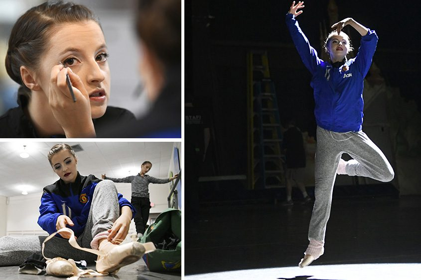 Indiana Woodward is pictured in the hours before a New York City Ballet performance at SPAC on Wednesday.