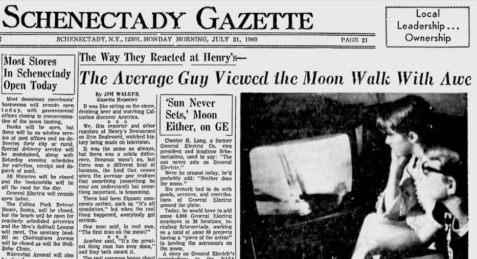 The Gazette article published the morning after the landing, July 21, 1969