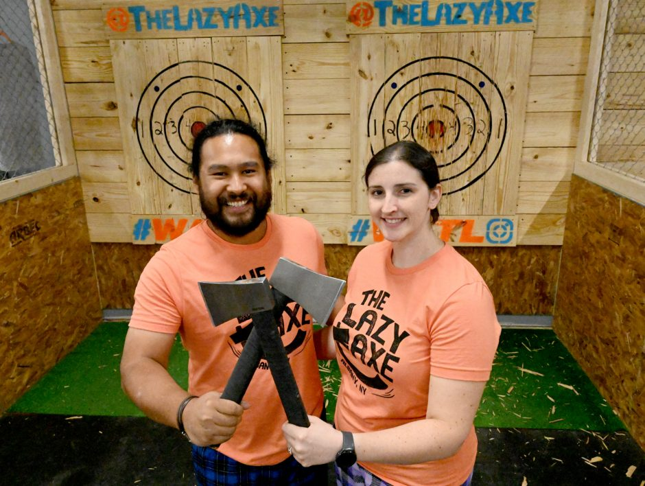 Axe throwers and owners, Mark Mirasol and Kristyn Muller of The Lazy Axe located on Central Ave. in Colonie.