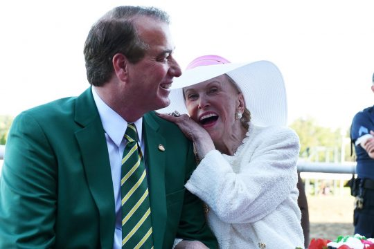 Marylou Whitney celebrates her birthday with husband John Hendrickson in the winners circle at the Saratoga Race Course in 2016.