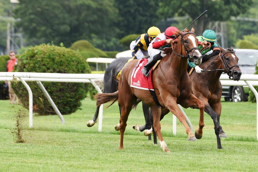 Regal Glory (1) leads stablemates Blowout and Dogtag to the wire in the Lake George at Saratoga.