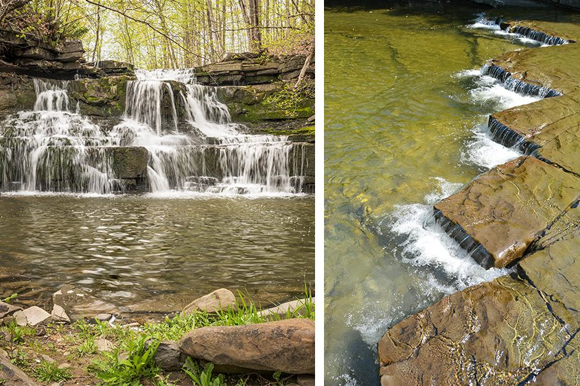 A waterfall in Wolf Creek Preserve, Albany County, left, and a small waterfall in Bozen Kill Preserve in Altamont.