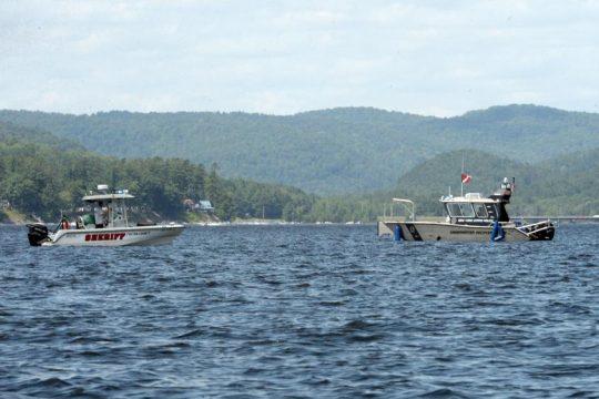 Searchers on the lake Sunday