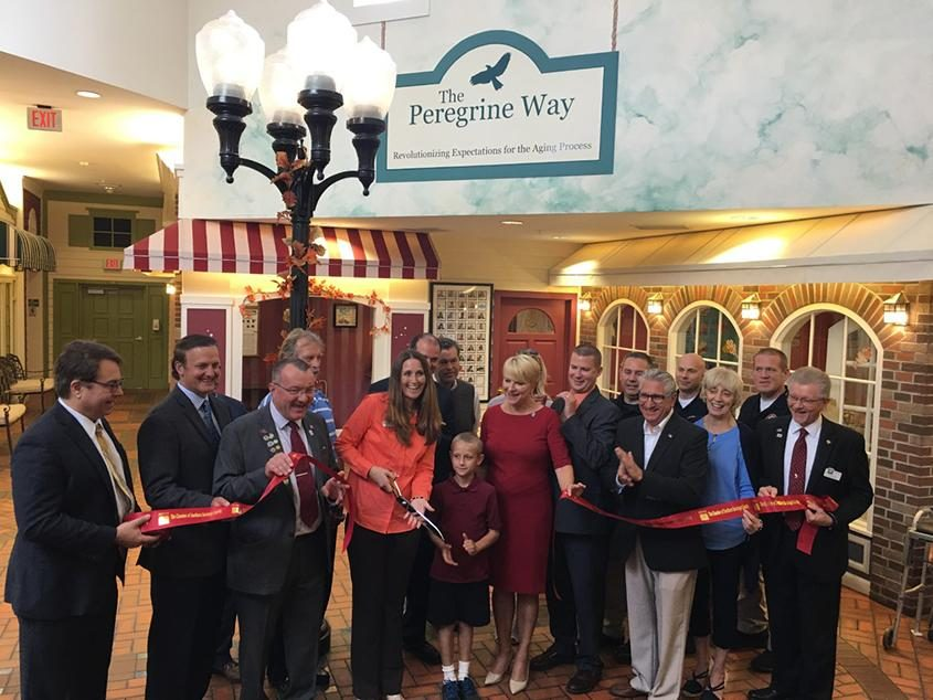 The scene at the ribbon cutting ceremony for Peregrine Senior Living in Clifton Park in October 2017.