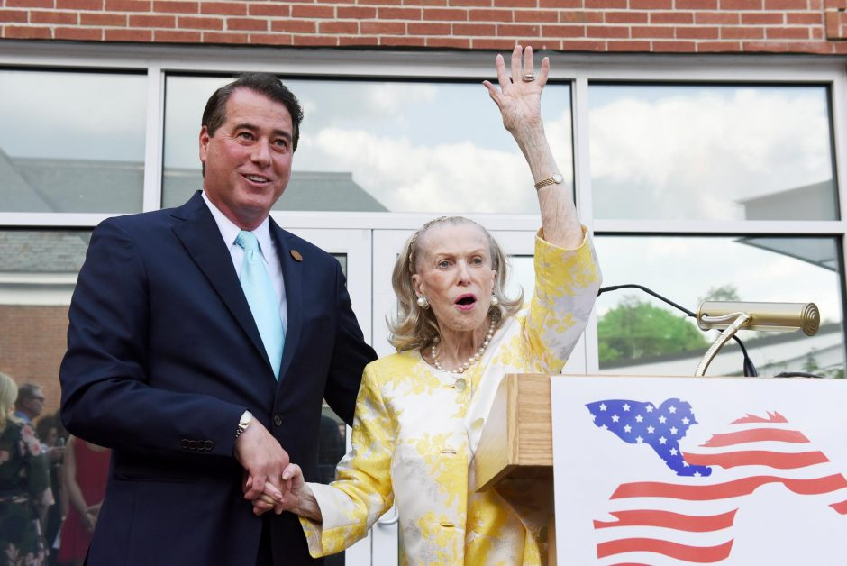 Marylou Whitney with her husband John Hendrickson at National Museum of Racing and Hall of Fame in Saratoga Springs, May 2018.