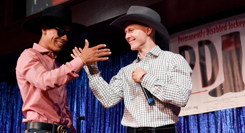 Dylan Davis and Jose Ortiz perform on stage during the PDJF Jockey Karaoke at Vapor Nightclub