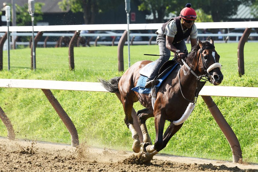 Preservationist and exercise rider Kelvin Pahal breeze five furlongs on the Saratoga main track on Saturday.