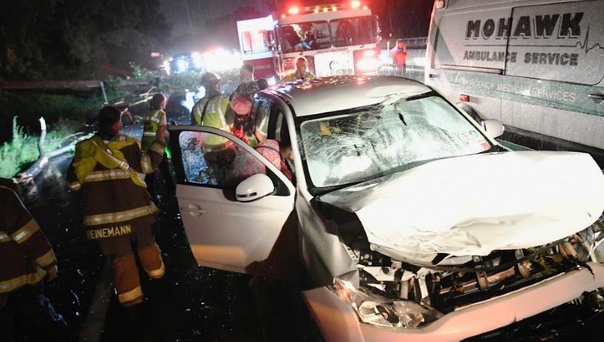 Schenectady firefighters respond to the accident late Monday