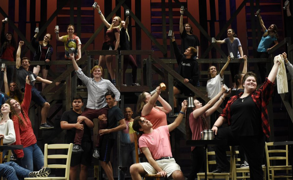 "The cast sings ""Master of the House"" during rehearsal for ""Les Miserables"" at Proctors."