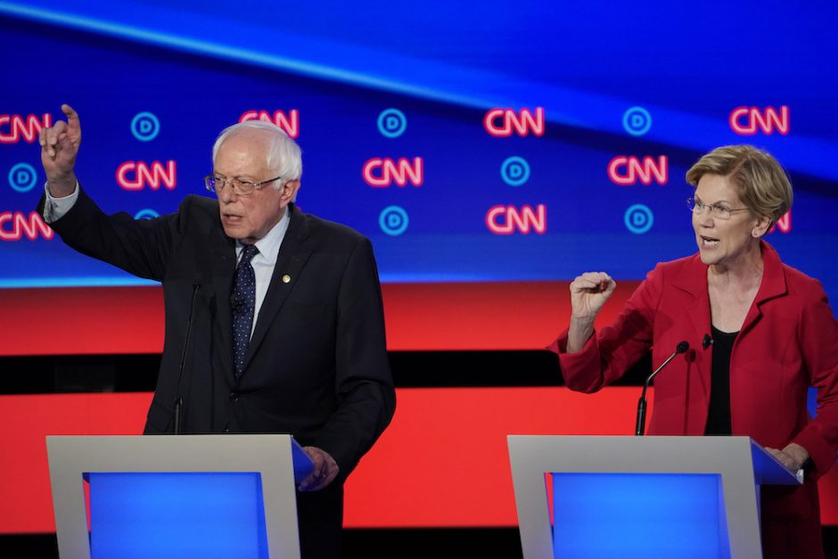 Sens. Bernie Sanders and Elizabeth Warren during the Democratic presidential candidates debate in Detroit, July 30, 2019.