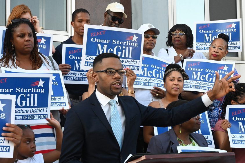 Democrat Omar Sterling McGill announces he will run for a County Legislature seat against Peggy King.