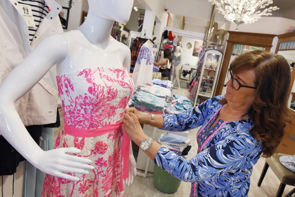 Pink Paddock owner Kim Burton dressed a mannequin in a Lilly Pulitzer dress at Pink Paddock in Saratoga Springs, August 1, 2019.