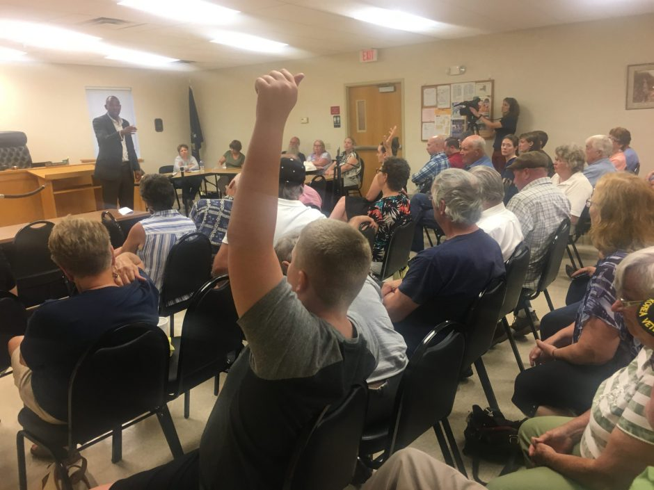 Fort Plain resident James Douglas, 12, raises his hand to pose a question to U.S. Rep. Antonio Delgado, D-Rhinebeck.
