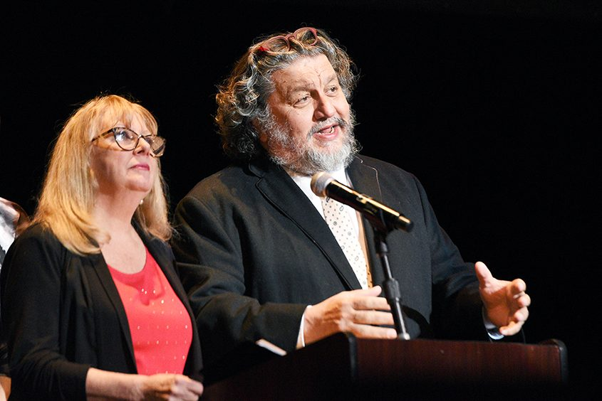 Proctors CEO Philip Morris, pictured with theRep's Maggie Mancinelli-Cahill, is a first generation Greek-American.