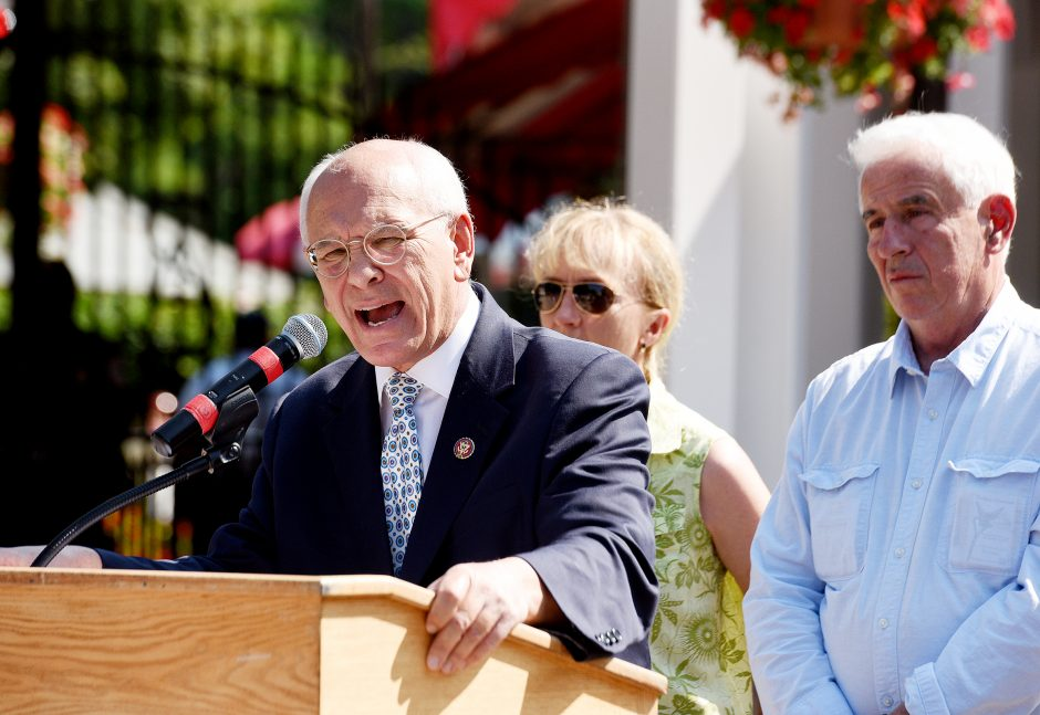 Rep. Paul Tonko speaks regarding the Horseracing Integrity Act at Saratoga Race Course in Saratoga Springs, August 1, 2019.