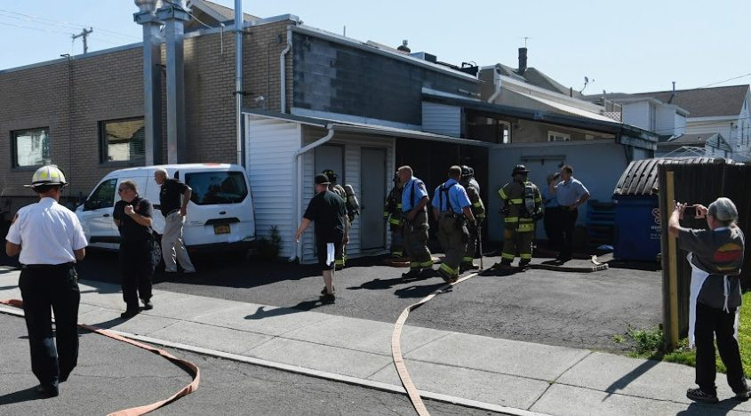 Schenectady firefighters at the scene Monday