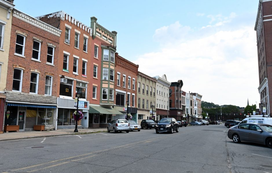 Looking east on Main Street in downtown Amsterdam on Tuesday.