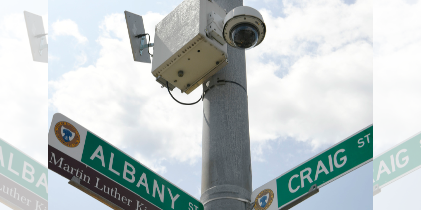 A security camera at Hulett and Craig streets in Schenectady is pictured.