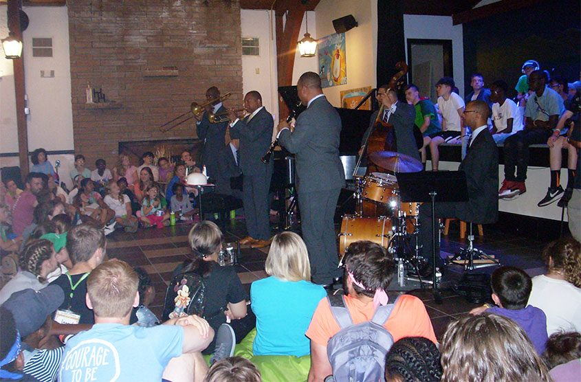Wynton Marsalis and members of his Jazz at Lincoln Center Orchestra perform Wednesday at the Double H Ranch.