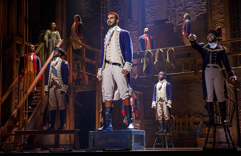 "A scene from the national touring production of ""Hamilton: An American Musical."""