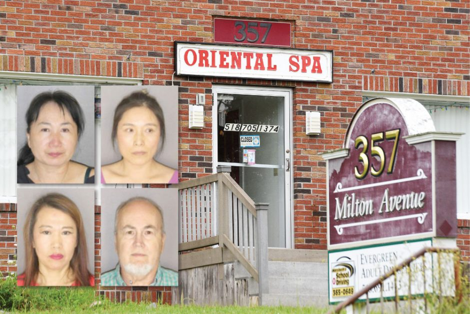 Oriental Spa on Milton Ave, Aug. 16, 2019. Inset, clockwise: Xiu Fen Feng, Limei Ning, Lawrence B. Boutillette and Kanjwei Liu.