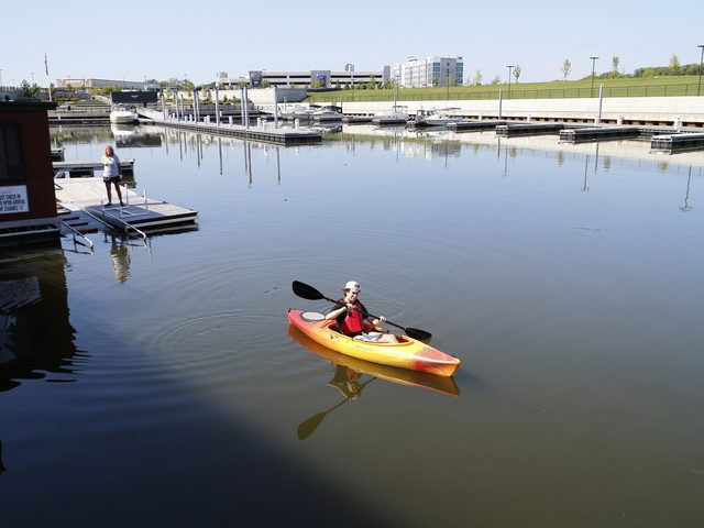 Daily Gazette intern Brenton Blanchet paddles out of Mohawk Harbor in Schenectady on Mon., August 12.