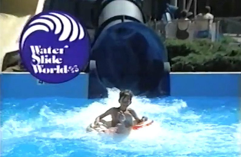 "A youngster takes a water slide ride in an image taken from the popular ""Water Slide World"" TV commercial."