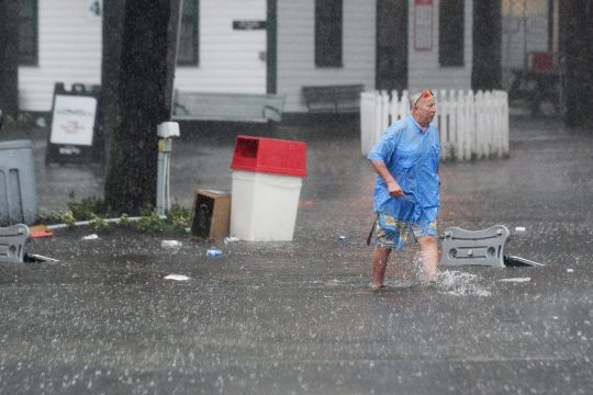 Downpours scattered throughout the region meant area residents dealt with some unexpected situations on Saturday, like this one.
