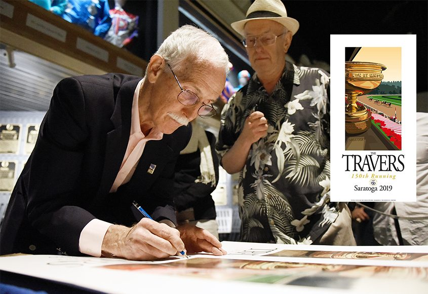 Artist Greg Montgomery signs prints of his poster (inset photo) for the 150th running of the Travers Stakes earlier this summer.