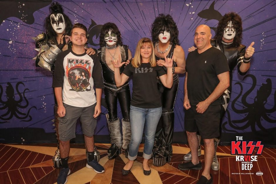 """From left, Trevor, Toni and Justin Luciani of Schenectady pose with Kiss during the """"Kiss Kruise VI"""" in 2016."""