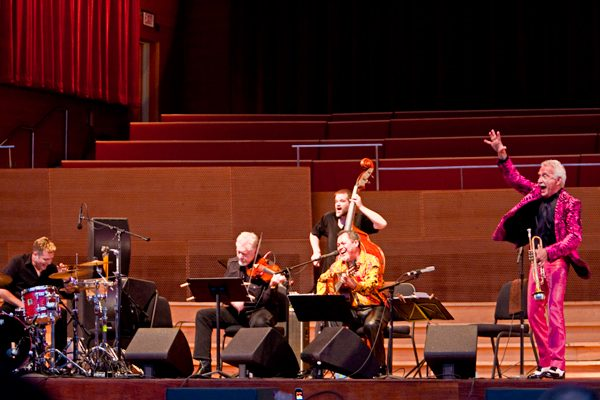 At 92, Doc Severinsen, right, former leader of The Tonight Show Band, is still touring.