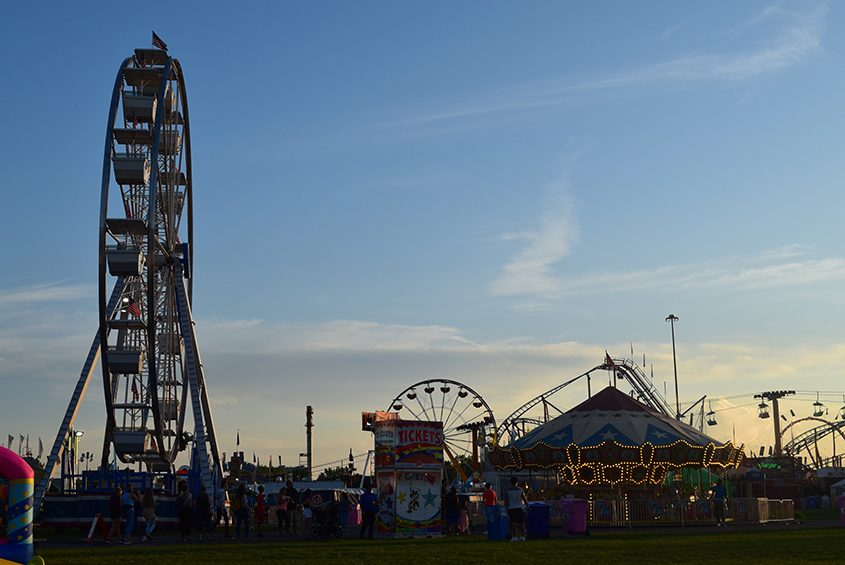 A late-evening photo of the midway taken Wednesday at the New York State Fair.