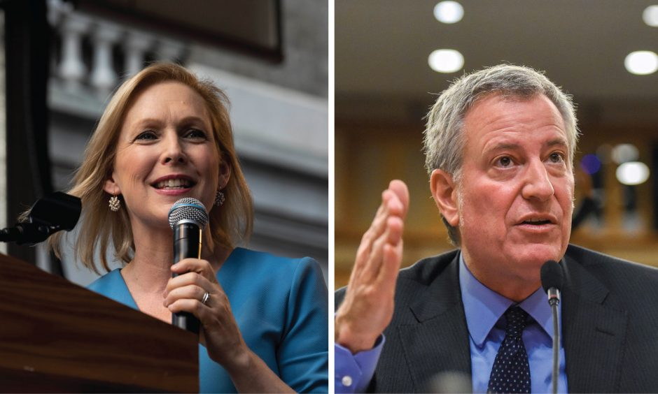 Kirsten Gillibrand at the Stonewall 50 rally in Manhattan, June 28. Bill de Blasio with the Budget Committee in Albany, Feb 11.