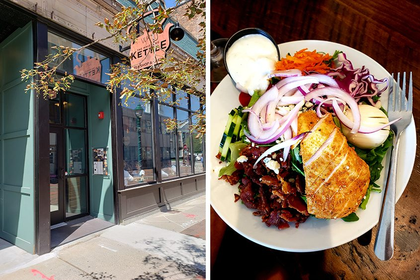 The exterior of the Whistling Kettle on Jay Street and a Cobb salad, right.