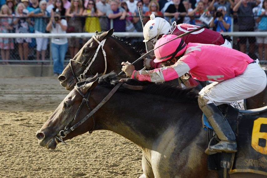 Funny Guy and Rajiv Maragh (6) hold off Bankit to win the $250,000 Albany at Saratoga.