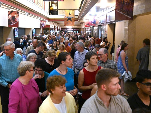 """Patrons wait to enter Proctors MainStage for the final showing of """"Hamilton"""" on Sunday afternoon."""