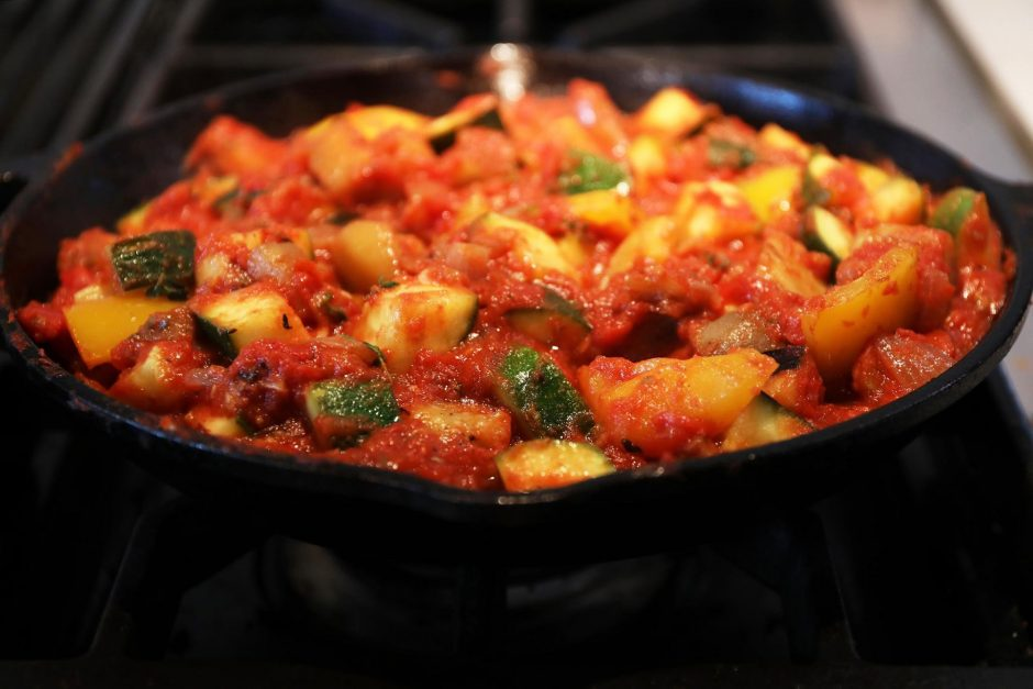 Ratatouille consists of roughly equal amounts of eggplant, zucchini and bell pepper, flavored with onion, garlic and herbs.