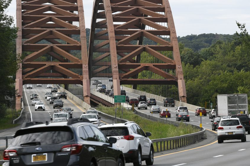 Traffic moves along Interstate 87 in the north bound lane at the Twin Bridges on Aug. 27.